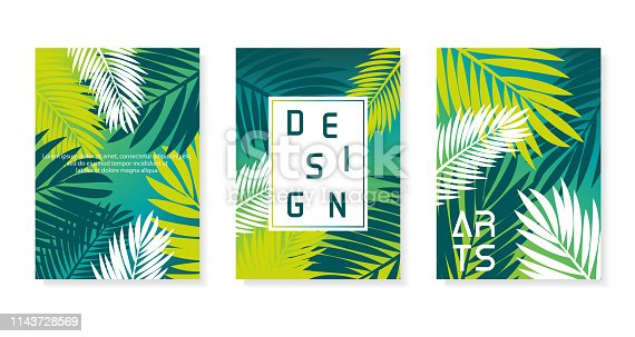 Colorful abstract vector poster set. Illustration of palm background. Eps10