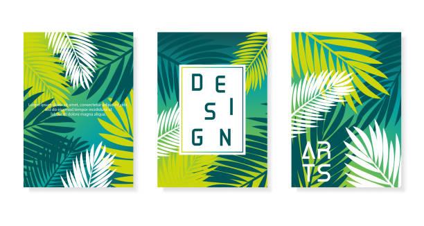 illustrations, cliparts, dessins animés et icônes de ensemble de poster vectoriel abstrait coloré. illustration de fond de paume. eps10 - palmier