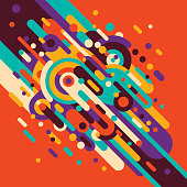 Colorful abstraction in retro style, made of various rounded shapes and circles. Youthful background. Vector illustration.