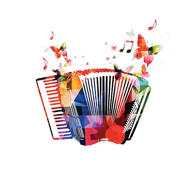 Bunte Akkordeon. Musik instrument Hintergrund mit Schmetterlingen – Vektorgrafik