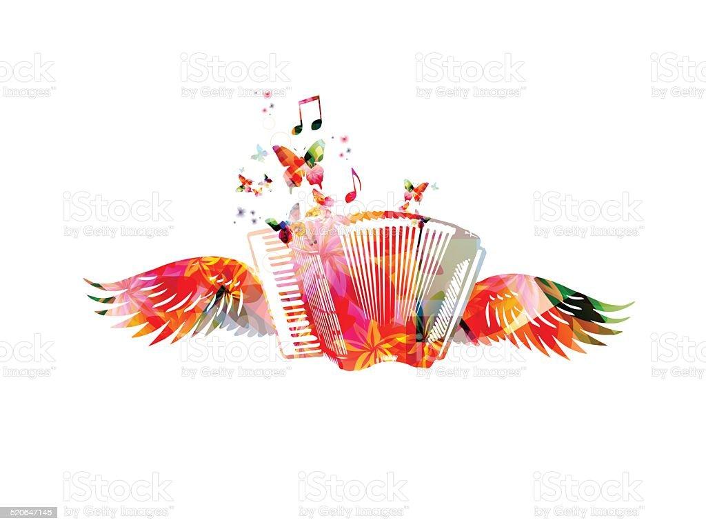 Colorido acordeón con alas - ilustración de arte vectorial
