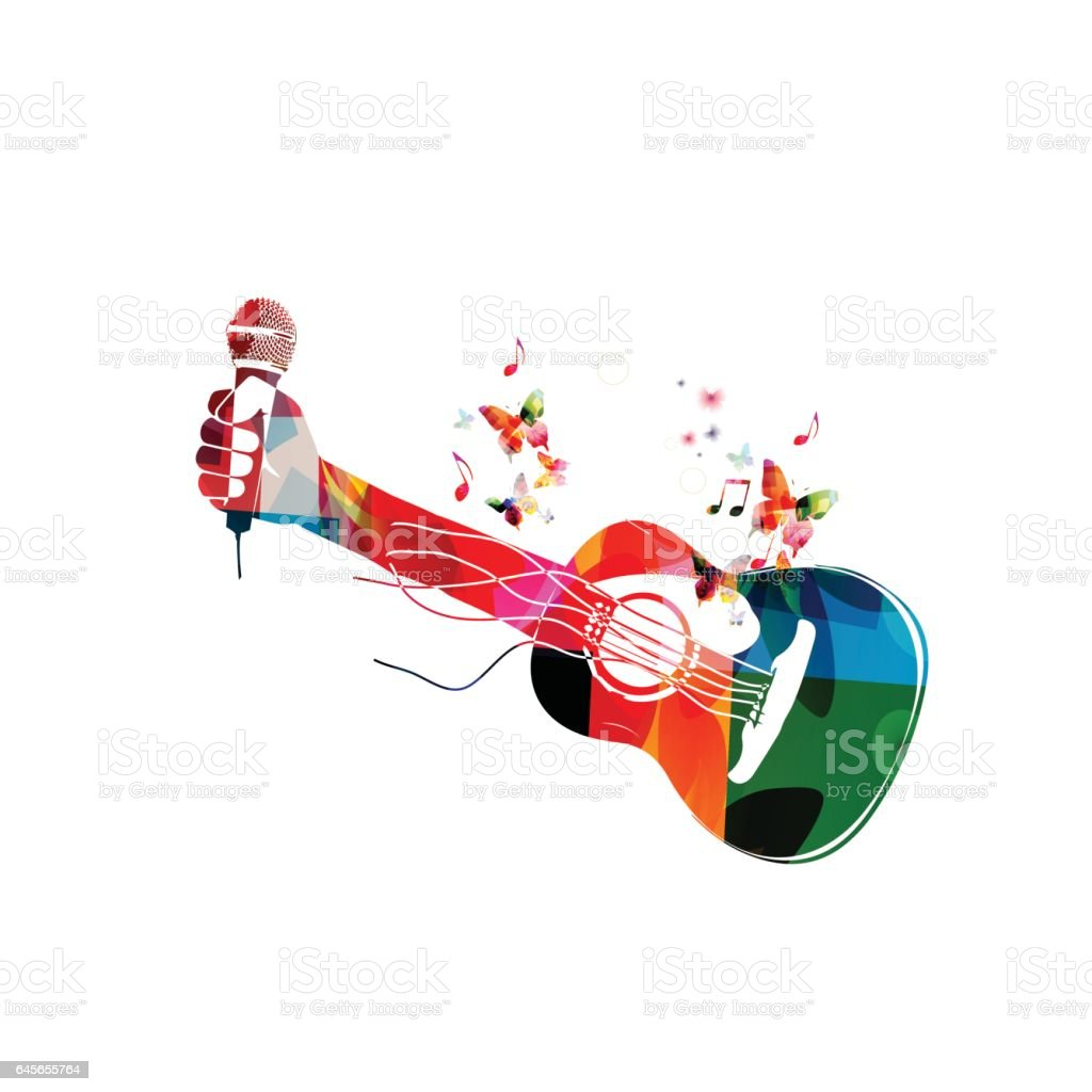 Colorful acoustic guitar with hand and microphone vector art illustration