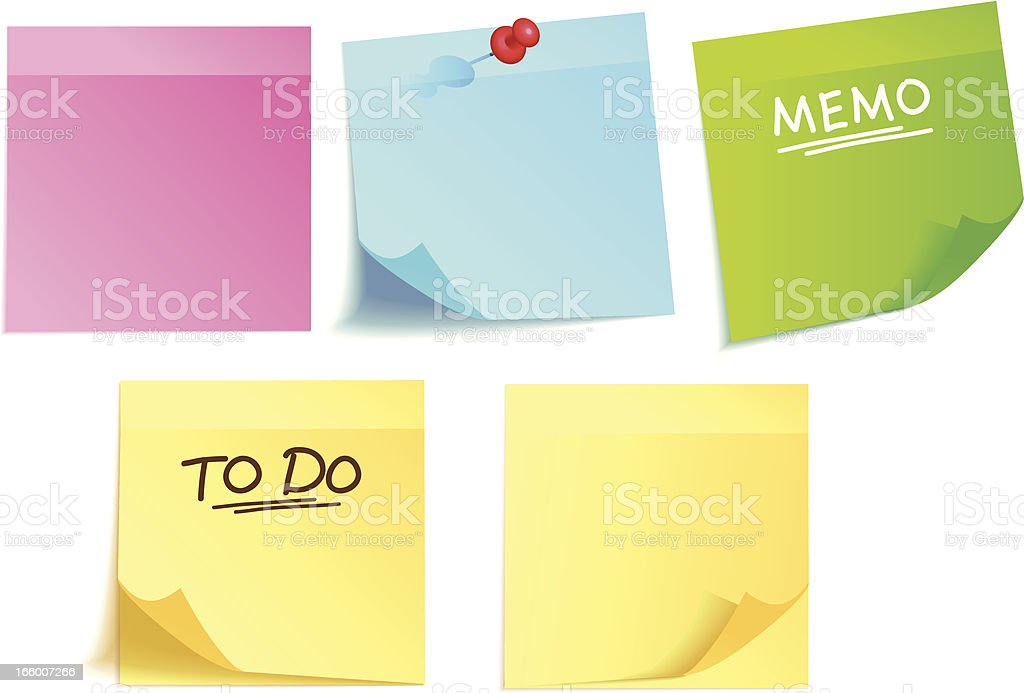 Colorful adhesive notes royalty-free stock vector art