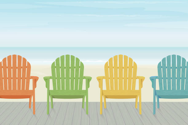 Colorful Adirondack Beach Chairs on Boardwalk Four colorful wooden Adirondack chairs in a row on a wooden deck at the beach. outdoor chair stock illustrations