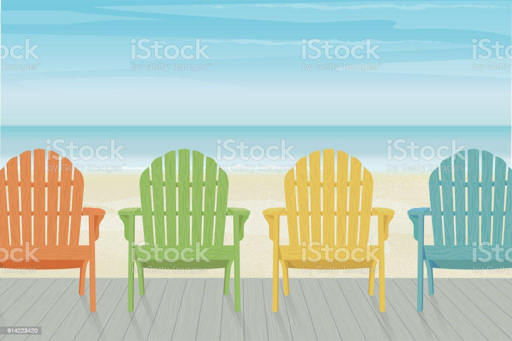Colorful Adirondack Beach Chairs On Boardwalk Stock Vector Art