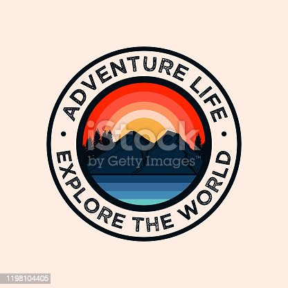 retro style adventure badge logo