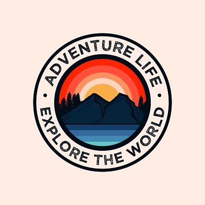 Colorful Adventure Mountain Badge Logo