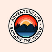 istock Colorful Adventure Mountain Badge Logo 1198104405