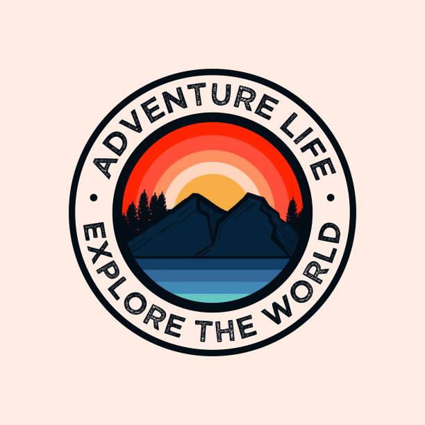 Colorful Adventure Mountain Badge Logo retro style adventure badge logo adventure stock illustrations