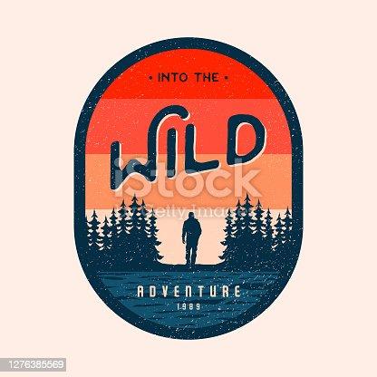 istock Colorful Adventure Mountain Badge Logo 1276385569