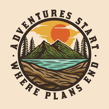 colorful adventure outdoor wilderness badge design