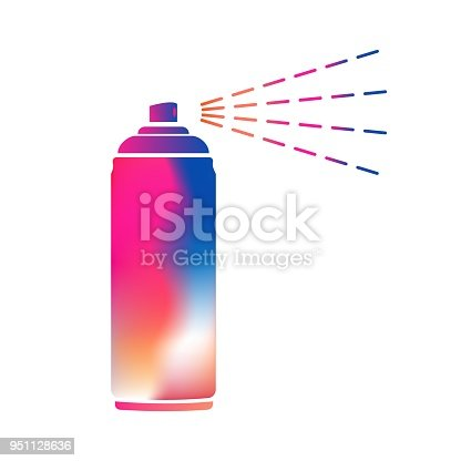 Colorful aerosol spray metal 3D bottle cans - opened cap. For paint, graffiti, deodorant, foam, cosmetics. Flat isolated vector illustration on a white background.