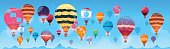 Colorful Air Balloons Flying In Day Sky Banner