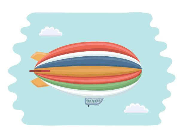 Colorful airship flying on blue sky and clouds background Vector cartoon funny illustration of colorful airship flying on blue sky and clouds background apostasy stock illustrations