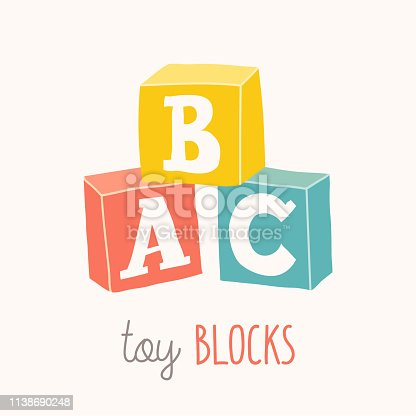 Colorful alphabet cubes with A,B,C letters. Isolated vector eps 10 illustration on white background