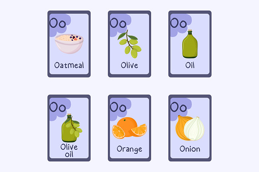 Colorful alphabet flashcard Letter O - oatmeal, olive, oil, orange, onion. Food themed cards for teaching reading with foods, vegetables, fruits and nuts. Series of ABC.