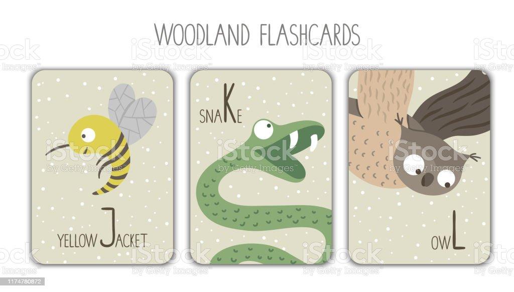 Colorful Alphabet Letters J K L Phonics Flashcard Cute