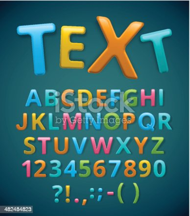 Colorful alphabet, text. Illustration contains transparency and blending effects, eps 10.