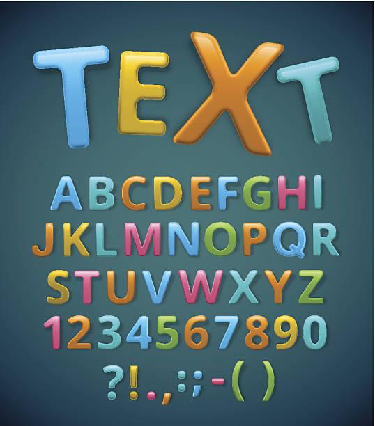 bunte alphabet - schriftsymbol stock-grafiken, -clipart, -cartoons und -symbole