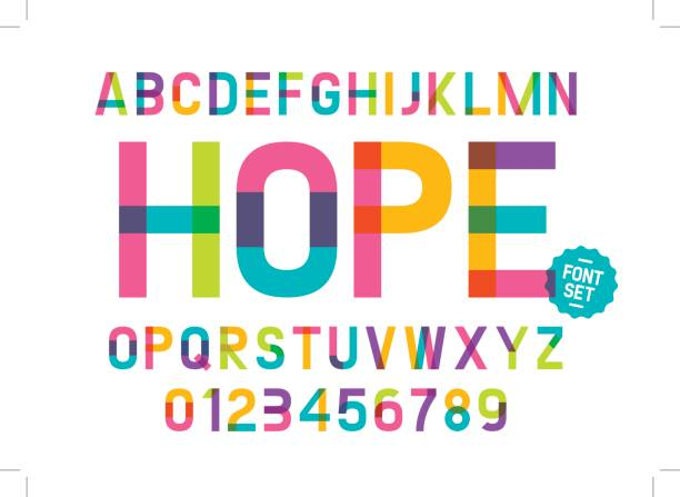 Colorful alphabet Vector of modern colorful font and alphabet alphabet designs stock illustrations