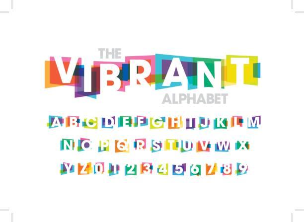 색상화 알파벳 - 다중 색상 stock illustrations