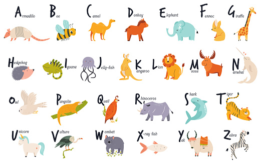 Colorful alphabet with cute funny animals. English letters.