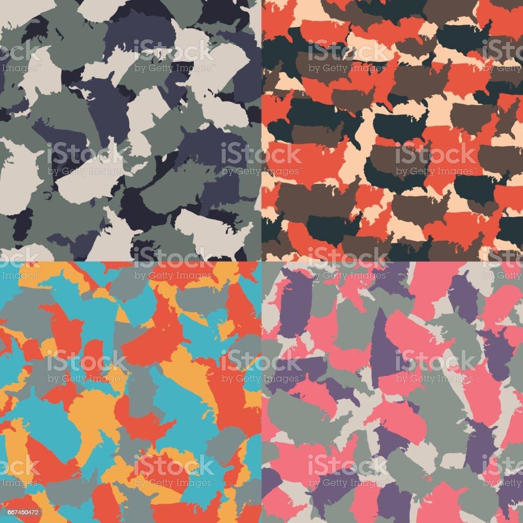 Colorful America urban camouflage. Set of USA shape camo seamless pattern. Vector fabric textile. Military print design vector art illustration