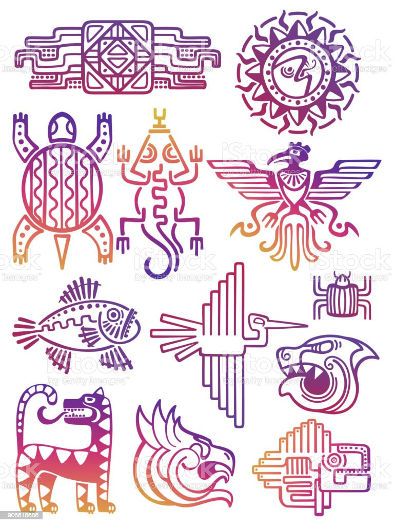 Colorful American Aztec Mayan Symbols Stock Vector Art More Images
