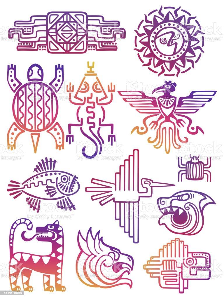 Azteca América colorido, símbolos mayas - ilustración de arte vectorial