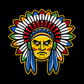 Colorful American Indian Chief head