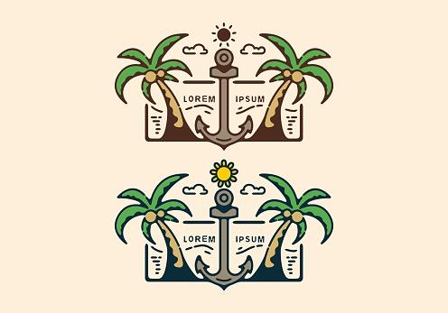 Colorful anchor beach line art illustration design