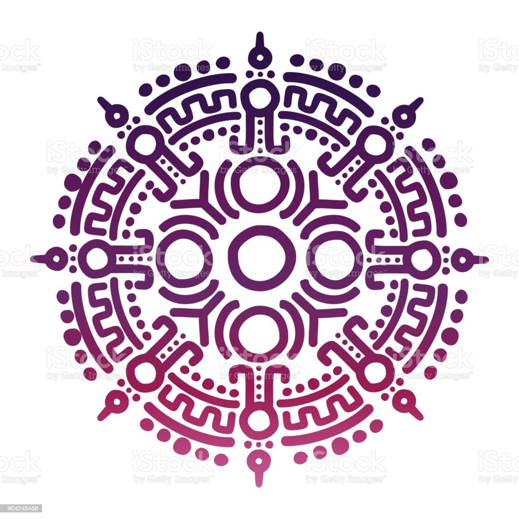 Colorful ancient mexican mythology symbol vector art illustration
