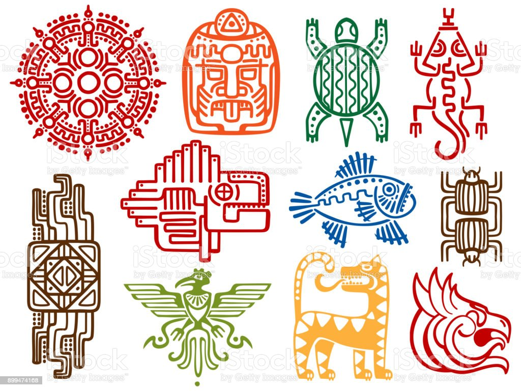 Colorful ancient mexican vector mythology symbols - american aztec, mayan culture native totem vector art illustration