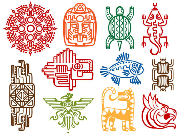 Colorful ancient mexican vector mythology symbols - american aztec, mayan culture native totem vector art illustration