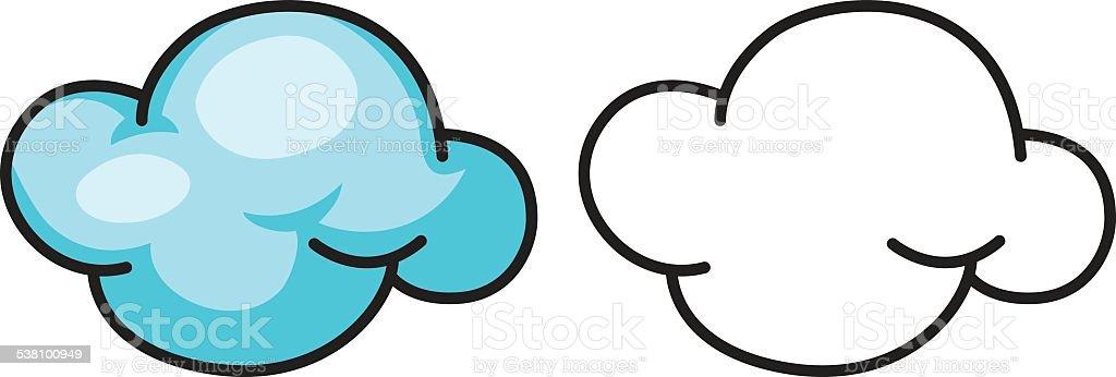 Ilustración de Colorido Y Negro Y Blanco Nube Libro Para Colorear y ...