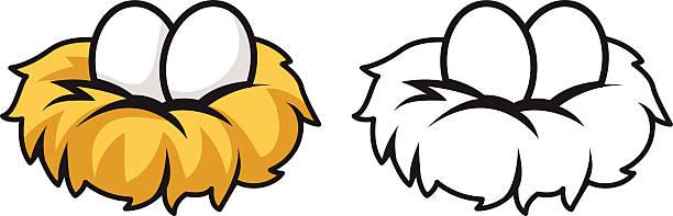 bunte und schwarze und weiße eier und nest - entenhaus stock-grafiken, -clipart, -cartoons und -symbole