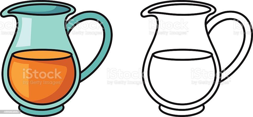 ilustração de coloridos e preto e branco jarro de livro de colorir e