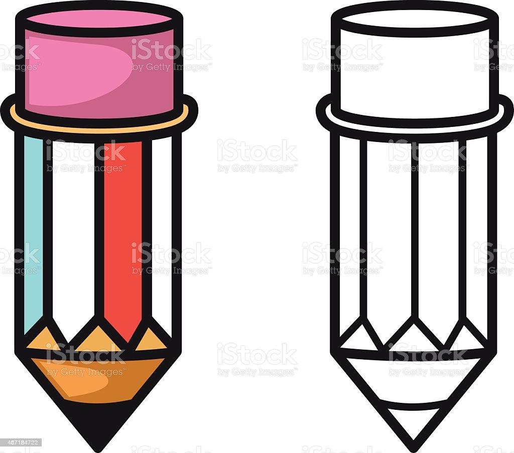 Ilustración De Colorido Y Blanco Y Negro Lápiz Para Colorear