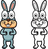 colorful and black and white rabbit for coloring book