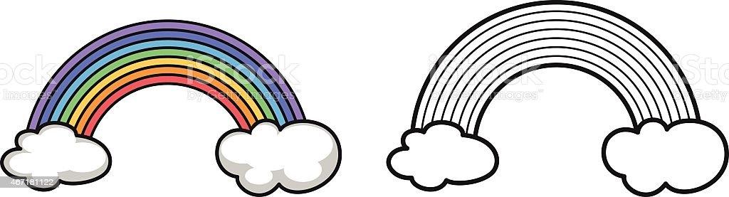 Colore E Bianco E Nero Arcobaleno Per Libro Da Colorare Immagini Vettoriali Stock E Altre Immagini Di 2015 Istock