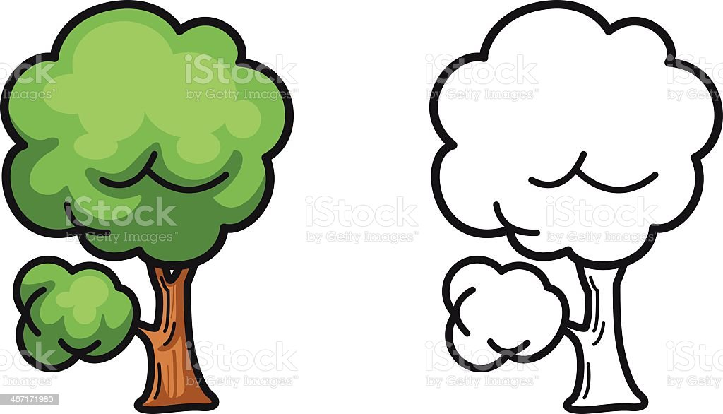 Colorful And Black And White Tree For Coloring Book Stok Vektör
