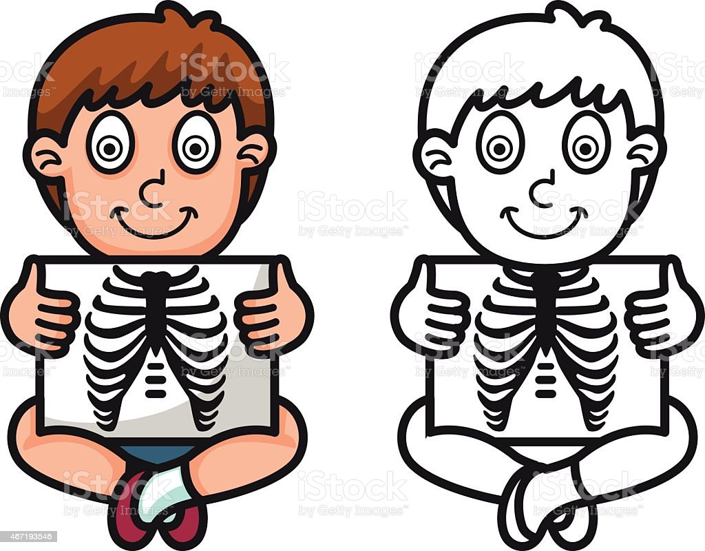 Colorful And Black White X Ray For Coloring Book Royalty Free