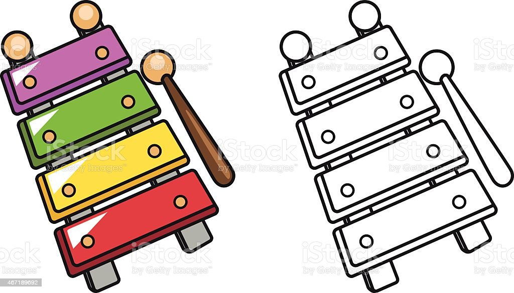 colorful and black and white xylophone for coloring book vector art illustration