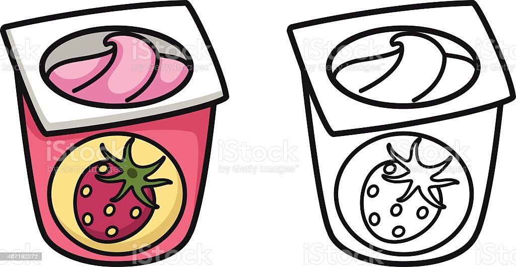 Ilustración De Colorido Y Blanco Y Negro Yogur Para Libro
