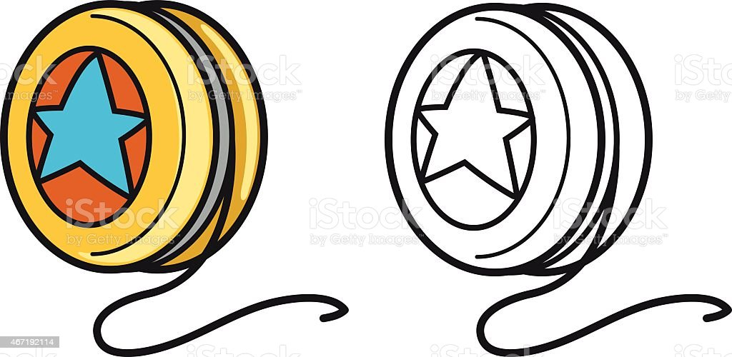 colorful and black and white yo-yo for coloring book
