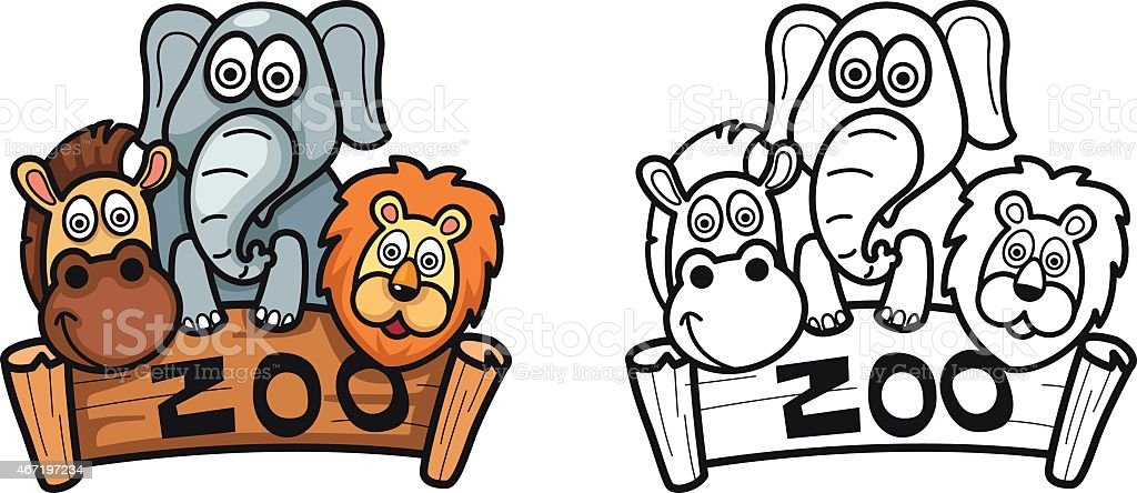Colorful And Black And White Zoo For Coloring Book Stock Vector Art ...