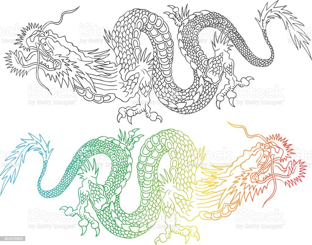 Colorful and black chinese dragons. vector art illustration