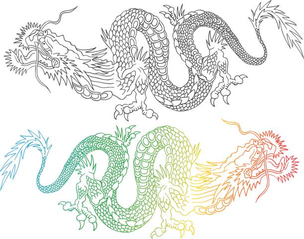 colorful and black chinese dragons. - dragon tattoos stock illustrations, clip art, cartoons, & icons