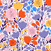Colorful and bright seamless pattern with leaves and flowers Floral vector background in modern style.