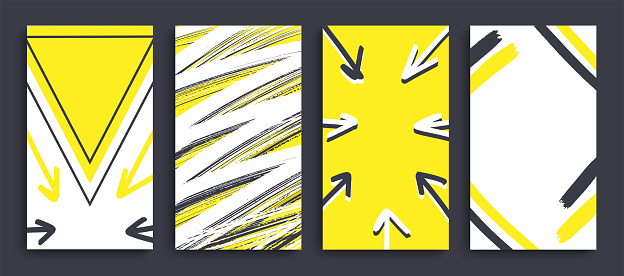 Colorful and bright story template design in yellow and black.
